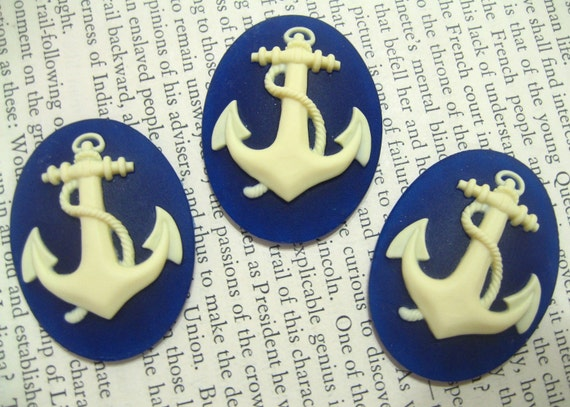 New Item 3 pieces 40x30MM Regal Blue Anchor Cameo