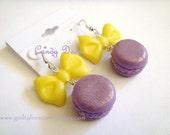Bow Tie Macaron Sterling Silver Earrings (Purple/Yellow)