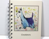 Scottish Terrier Journal Spiral Notebook Diary - Original Watercolor Art - Personalized With Your Name