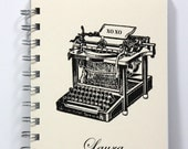 Typewriter Journal Notebook Diary Sketch Book - Personalized With Your Name - Vintage Art - Ivory
