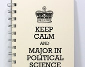 Political Science Journal Notebook Diary Sketch Book - Keep Calm and Major in Political Science - Small Notebook 5.5 x 4.25 Inches - Ivory