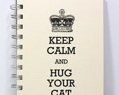 Cat Journal Notebook Diary Sketch Book - Keep Calm and Hug Your Cat - Small Notebook 5.5 x 4.25 Inches - Ivory