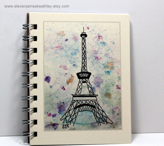 Travel Journal Notebook Sketch Book Diary - Eiffel Tower - Original Watercolor Art - Small Notebook 5.5 x 4.25 Inches - Ivory