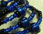 Handmade Glass Bead Bracelet, Dichroic Glass Beads, Paula Radke, Cobalt Blue, Black Beads, Bangle Bracelet, Memory Wire, Artisan Design