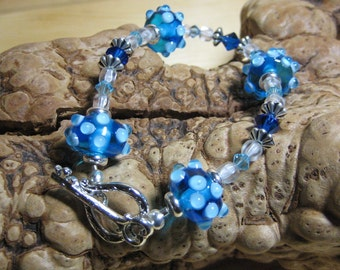 Lampwork Bracelet Handmade Blue Sputnik with Sterling Silver Heart and Key Toggle