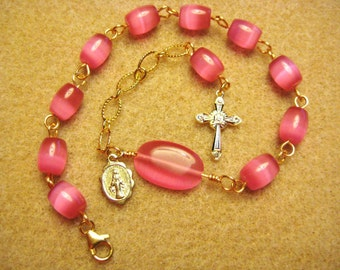 Rosary Bracelet Handmade with Pink Fiber Optics with Gold Cross and Medallion
