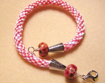 Kumihimo Bracelet Handwoven, pink with lampwork beads - Valentine jewelry - Pink Jewelry