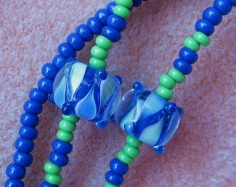 Blue Eyeglass Lanyard Handmade with green accents and lampwork bead