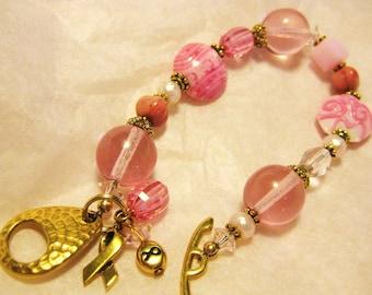 Lampwork Bracelet Handmade Pink Ribbon Charm Bracelet, Breast Cancer Bracelet, Charm