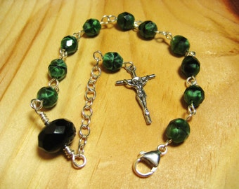 Rosary Bracelet Handmade with Green and Black Fire Polished beads