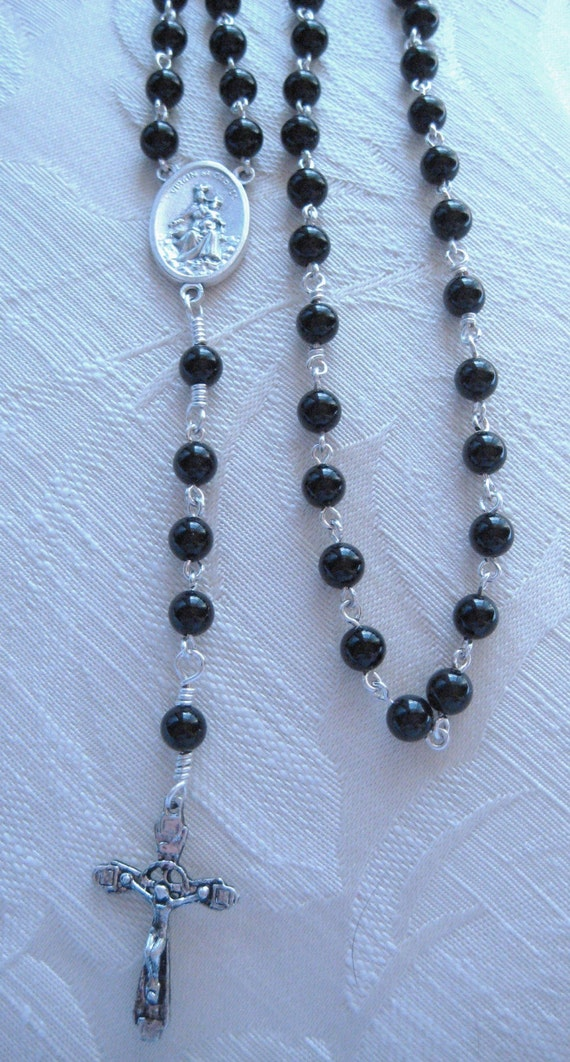Rosary Handmade with Black Onyx with Crucifix, Virgin of Carmel Center - 16 inces