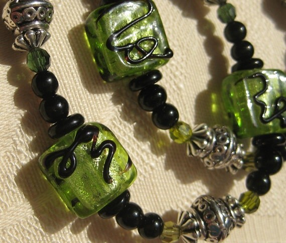 Discounted, Green Necklace Handmade 29 inch Artsy glass beads, crystals, Silver Accents