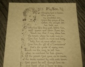 MOTHER'S PRAYER for her Son, Baby Book Keepsake -- Beautiful Vintage Poetry
