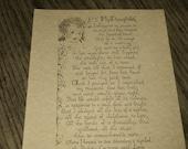 MOTHER'S PRAYER for Her Daughter, Baby Book Keepsake -- Beautiful Vintage Poetry