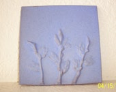 Van Briggle Pottery Tile in Periwinkle, With Decorative Wheat Branches