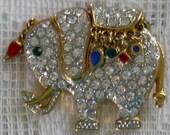 Pave Crystal Elephant Brooch/Pin (B-1-5)