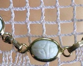 White Carved Glass Scarab Link Bracelet (BR-1-5)