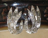 Clear Art Deco Rhinestone Earrings (E-2-1)