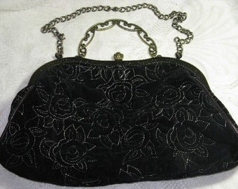 Vintage Black Velveteen Evening Bag