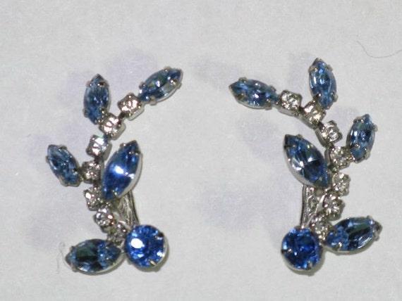 Blue and Clear Rhinestone Leaf Earrings (E-1-2)