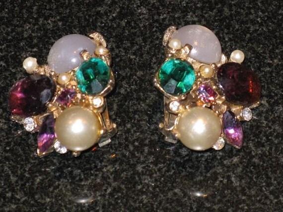 Amethyst and Emerald Rhinestone Earrings (E-1-4)