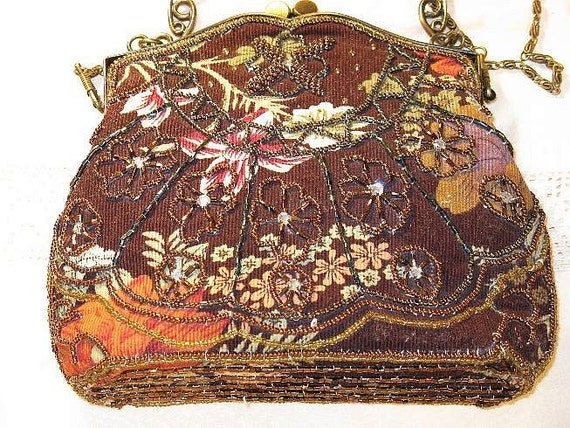 REDUCED - Brown Beaded Floral Corduroy Evening Bag