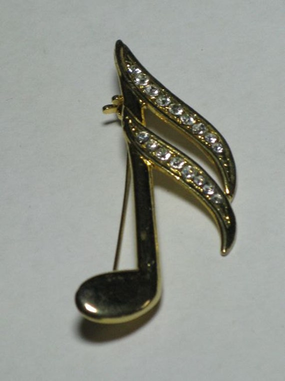 Rhinestone Musical Note Brooch (B-3-6)