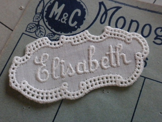 Give your handmade item a ancient touch with this vintage embroidery name tag ELISABETH