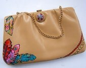 Painted Purse- Leather Feathers Vintage Bag