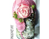 hat / aviator style with ear flaps / vintage chenille with handmade rose