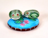 Two frogs on a pond - Handpainted Rock Art