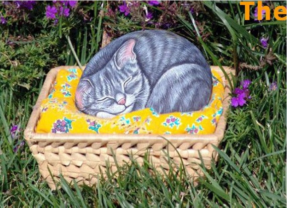 How to paint on rock a sleeping kitty ( pdf lesson)