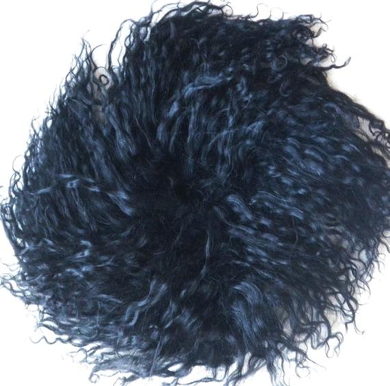"Seamless Tibetan Lamb 5"" long Doll Hair for Waldorf,  BJD, Blythe, Troll, polymer clay, OOAK Dolls-BLACK"