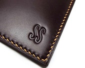 Personalized Leather Card Holder, Vertical, Naturally Tanned Leather, Monogrammed, Redwood, Burgundy