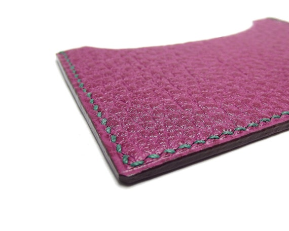LAST one, Colorful Bright Pink Fuschia Leather Card Holder, Hand Stitched in Emerald green, Pink