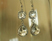 Wedding jewelry...Gorgeous earrings of clear crystal faceted drops on sterling silver. Bride, Bridesmaids jewelry