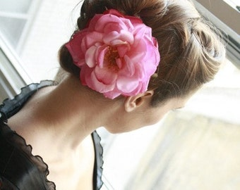 Pink Blooming Rose, Wedding, Bridesmaid, Bridal, Retro, Burlesque, Classic Hair Clip