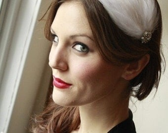 Bridal Feathered Fascinator Headband with Vintage Rhinestone Button