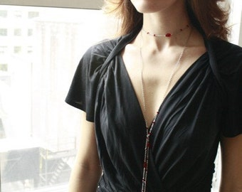 Stunning Siam Red Swarovski Crystal Lariat...Vampire Necklace