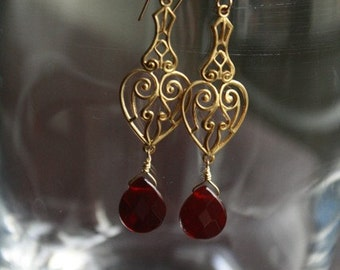 Lovely Victorian Heart Brass FIligree Earrings with Siam Stones