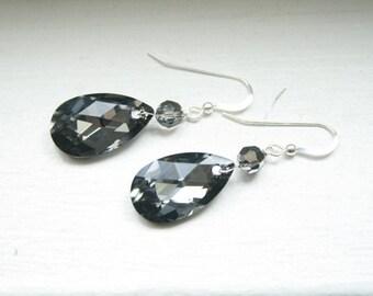 Bridesmaid Earrings.  SIlver Night Swarovski Tear Drop Earrings