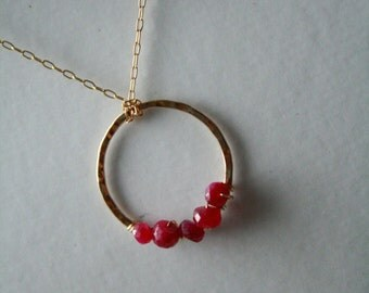 Ruby Necklace..Beautiful Gold Filled Circle and Ruby Necklace