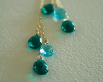 Beautiful Colorful Peacock Blue Hydro Quartz and Blue Topaz Briolette Lariat Necklace On Gold