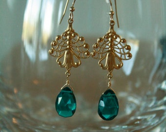 Gorgeous Peacock Teal Blue Quartz and  Gold FIligree Earrings, bridesmaid, wedding, retro