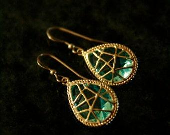 Beautiful Gold and Aqua Web Earrings. Bridesmaid, wedding, something blue