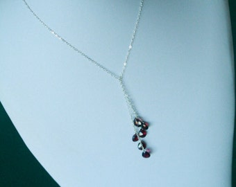 Garnet Lariat.... gemstone Necklace, wedding, bridesmaid, bridal necklace