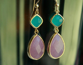 Wedding Bridesmaid Earrings.  Green and Pink on gold