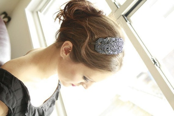 Beaded Deco Blue Headband