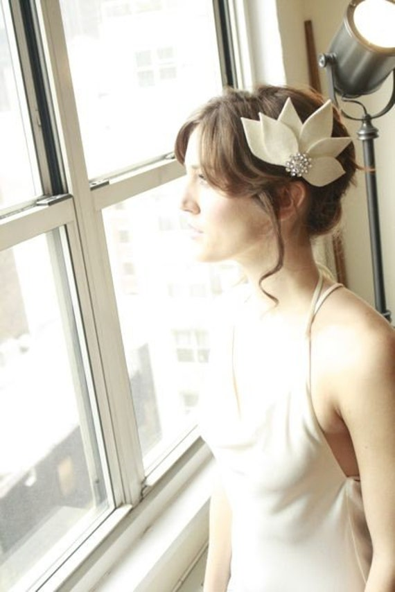 Gorgeous Bridal Fascinator Hair Piece....White Lotus with Rhinestone Button Bridal, Wedding, Bridesmaid