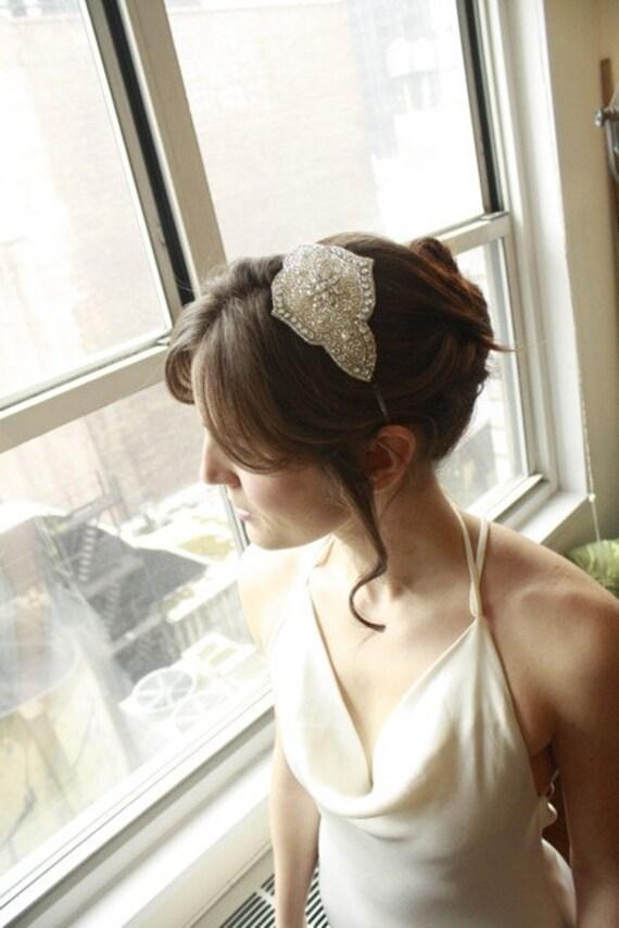 Art Deco Headband Wedding headpiece Bridal Rhinestone Fascinator Headband...Deco Rhinestones and Beads